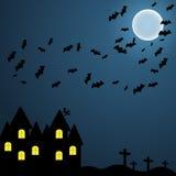 I precedenti scuri sul cielo notturno di Halloween con la luna e il EPS10 myshy volatile illustrazione di stock