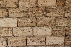 I precedenti sono una parete gialla di grandi mattoni dell'arenaria di coquina hanno sigillato i blocchetti delle coperture fotografia stock