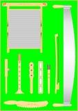 Vecchi strumenti musicali pieghi. Fotografie Stock Libere da Diritti