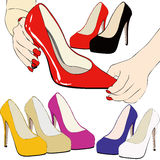 I prefer these. Illustration depicting a woman who chose her shoes Royalty Free Stock Image