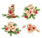 I presente della decorazione di Natale dei contenitori di regalo hanno messo la raccolta Fotografia Stock