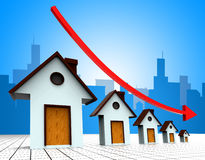 I prezzi della casa giù rappresenta si riducono regredisce e famiglia Immagine Stock Libera da Diritti