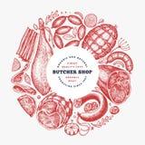 I prodotti a base di carne d'annata di vettore progettano il modello Prosciutto, salsiccie, jamon, spezie ed erbe disegnati a man immagini stock libere da diritti