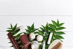 I prodotti di bellezza naturali dello skincare di aromaterapia e della stazione termale con gli accessori del bagno compreso esfo Fotografia Stock Libera da Diritti