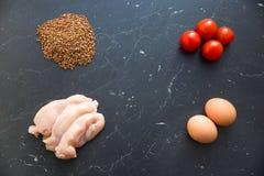 I prodotti giusti Proteine, carboidrati, fibra fotografia stock libera da diritti