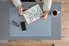 I progettisti presentano con le note e gli strumenti, sopra Fotografia Stock Libera da Diritti