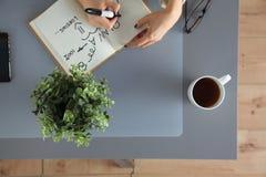 I progettisti presentano con le note e gli strumenti, sopra Immagini Stock