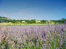 By i Provence, Frankrike, med främst lavendel arkivfoto