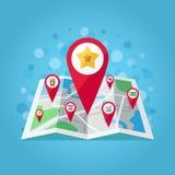 I puntatori della mappa di GPS sulla mappa vector l'illustrazione (mela, star, compera, porta via il caffè, il carrello del negoz Fotografie Stock