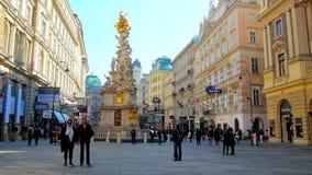I punti di riferimento della via di Graben, Vienna, Austria stock footage