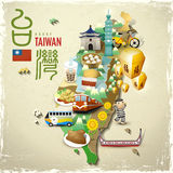 I punti di riferimento e gli spuntini adorabili di Taiwan tracciano nello stile piano Immagini Stock Libere da Diritti