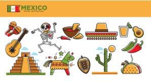 I punti di riferimento e le attrazioni turistiche famosi di turismo di viaggio del Messico vector l'insieme di simboli royalty illustrazione gratis