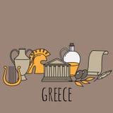 I punti di riferimento greci della cultura di viaggio e le icone piane delle caratteristiche culturali progettano l'insieme Immagini Stock Libere da Diritti