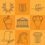 I punti di riferimento greci della cultura di viaggio e le icone piane delle caratteristiche culturali progettano l'insieme Fotografia Stock Libera da Diritti