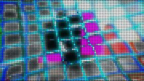 I punti di schermo sottraggono il fondo luminoso, 3d rendono il computer che genera, esposizione variopinta di tecnologia di visu Immagine Stock Libera da Diritti