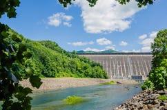 I punti di vista dell'uomo hanno fatto la diga montagne fumose nc di Fontana del lago alle grandi Fotografia Stock