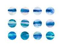 I punti disegnati a mano dell'acquerello sottraggono il fondo, fondo astratto blu Illustrazione di Stock