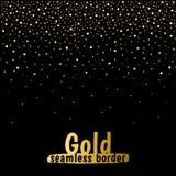 I punti disegnati a mano dell'oro, lustrino, scintilla confine senza cuciture Immagine Stock