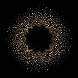 I punti dorati, le gocce o brillare spangles intorno alla struttura Immagini Stock