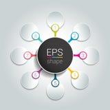I 8 punti infographic rotondi catturano con la rete il diagramma di flusso Diagramma, grafico, grafico, diagramma di flusso, mode Fotografia Stock