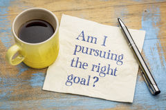 Am I pursuing the right goal? Napkin concept. Royalty Free Stock Image