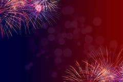 i quarti del fondo di luglio con i fuochi d'artificio aggiungono il vostro proprio testo o saluto Immagini Stock Libere da Diritti