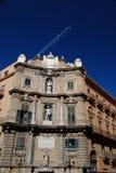 I Quattro Canti, barok vierkant in Palermo, Sicilië Stock Foto