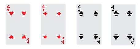 I quattro del gioco di scheda Immagine Stock