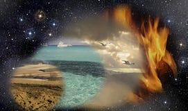 I quattro elementi primordiali Fotografia Stock
