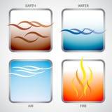 I quattro elementi: terra, acqua, aria e fuoco Fotografia Stock