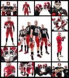 I quattro giocatori di football americano che posano con la palla su fondo bianco fotografia stock libera da diritti