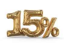I quindici per cento dorati hanno fatto dei palloni gonfiabili Insieme delle percentuali 3d illustrazione di stock