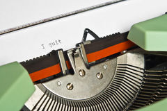 I quit. Close-up of an old typewriter with the word I quit typed stock photography