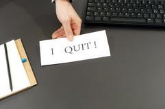 I QUIT! Employee quitting work Stock Image