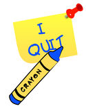 I quit message. Thumb tacked note with message - I quit - vector Stock Image