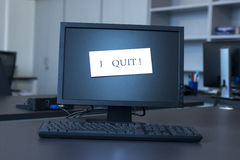 I quit not on screen Royalty Free Stock Photography