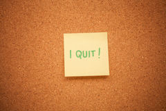 I quit note on cork board Stock Image
