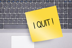 I Quit Note on Keyboard Royalty Free Stock Images