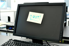 I quit note on screen Stock Photos