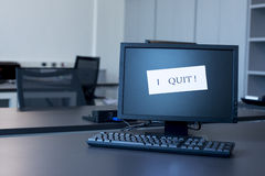 I quit note on screen Stock Photography