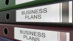 I raccoglitori dell'ufficio con i business plan etichetta 3D che rende gli anni differenti Immagine Stock