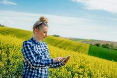I raccolti d'esame di Using Digital Tablet dell'agricoltore di agricoltura immagini stock libere da diritti