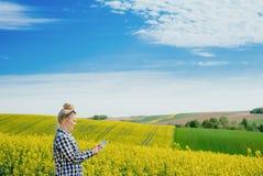 I raccolti d'esame di Using Digital Tablet dell'agricoltore di agricoltura fotografia stock libera da diritti