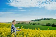 I raccolti d'esame di Using Digital Tablet dell'agricoltore di agricoltura immagine stock