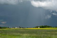 I raccolti del canola e dell'azienda agricola, Saskatchewan, Canada fotografie stock