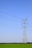I raccolti e torre elettrica sotto il cielo blu Fotografia Stock
