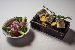 I raccordi di aringa sui pani tostati pescano fotografia stock