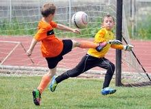 I ragazzi dei piccoli bambini giocano a calcio o calcio Immagini Stock