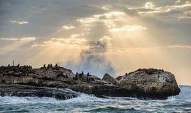 I raggi del sole attraverso le nuvole nel cielo di alba, le onde che si rompono con lo spruzzo sulle rocce fotografia stock
