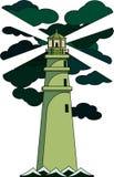 I raggi dell'illustrazione del faro di luce verdi splendono attraverso le nuvole verdi illustrazione di stock